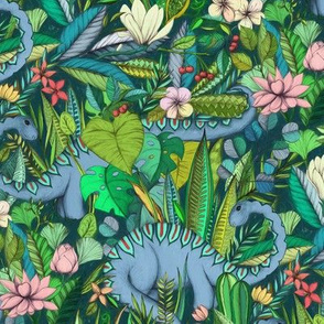 Medium scale Improbable Botanical with Dinosaurs - dark green