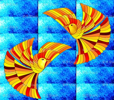 Phoenix Firebird on blue (Greek Mythology)