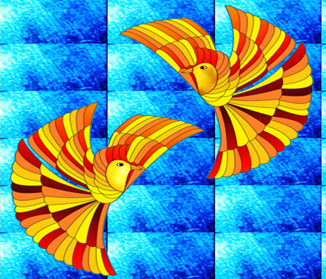 Phoenix Firebird on blue (Greek Mythology) fabric by b2b on Spoonflower - custom fabric