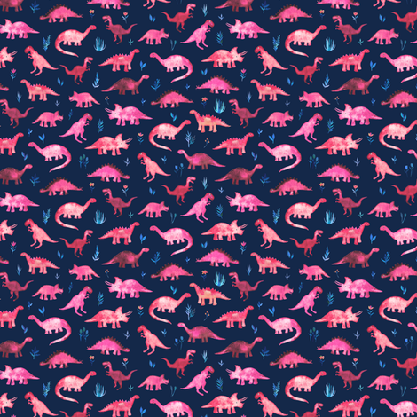 Extra Tiny Dinos in Magenta and Coral on Navy  fabric by micklyn on Spoonflower - custom fabric