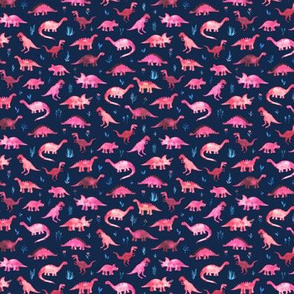 Extra Tiny Dinos in Magenta and Coral on Navy