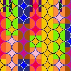 orange art deco circles