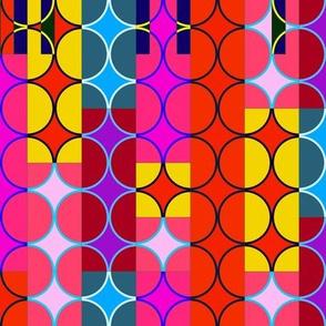 bright pink art deco circles