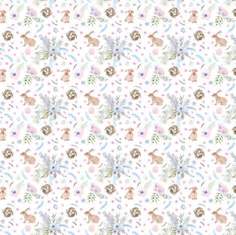 Easter Bunnies, eggs, robins, nests - smaller Version. fabric by rebecca_reck_art on Spoonflower - custom fabric