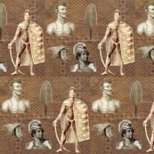 Ancient Hawaiian Warriors w/tapa background