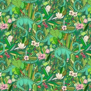 Small scale Improbable Botanical with Dinosaurs - emerald green