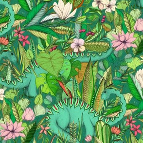 Medium scale Improbable Botanical with Dinosaurs - emerald green