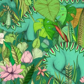 Large scale Improbable Botanical with Dinosaurs - emerald green