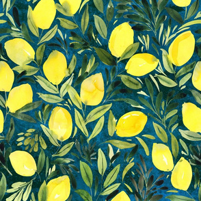 Lemons on turquoise