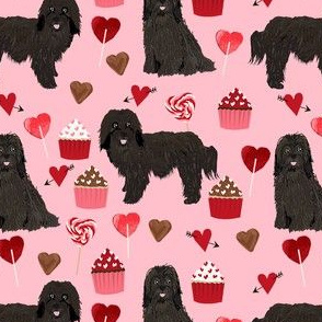 havanese black coat valentines day cupcakes love hearts dog breed fabric pink