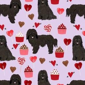 havanese black coat valentines day cupcakes love hearts dog breed fabric purple
