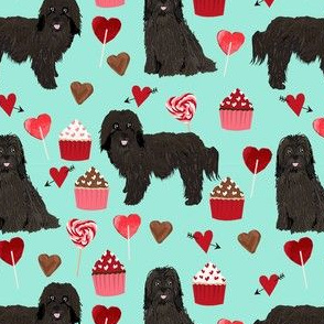 havanese black coat valentines day cupcakes love hearts dog breed fabric mint