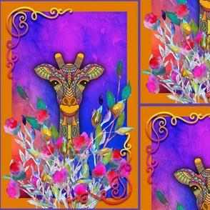 giraffe violet purple framed checkerboard tiles