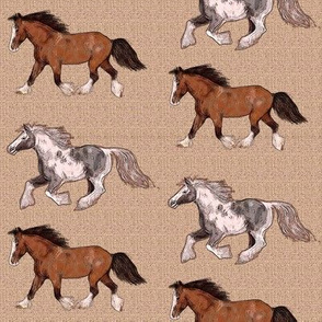Etched Look Gypsy Vanner Horses on Beige