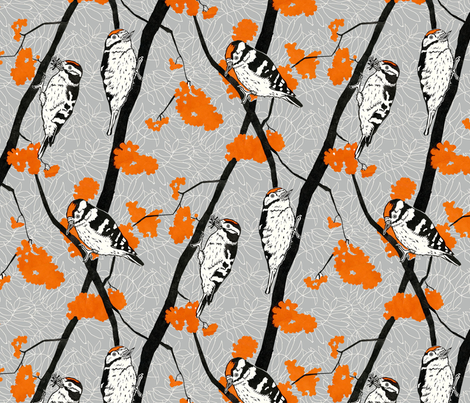 Woodpeckers with Orange Berries - 36cm repeat fabric by threebearsprints on Spoonflower - custom fabric