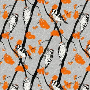 Woodpeckers with Orange Berries - 36cm repeat