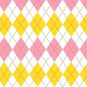 Argyle  - pink, yellow