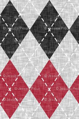 Argyle - red, black, grey
