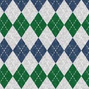 argyle - navy green grey