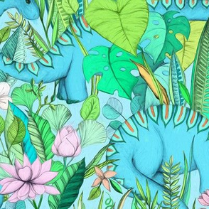 Large scale Improbable Botanical with Dinosaurs - bright pretty pastels