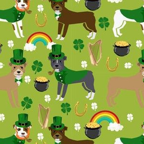 pitbull leprechaun fabric - st pattys day st. patricks day dog design - lime