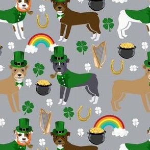 pitbull leprechaun fabric - st pattys day st. patricks day dog design - grey