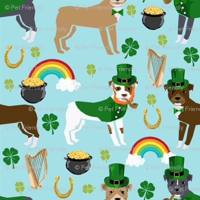 pitbull leprechaun fabric - st pattys day st. patricks day dog design -blue