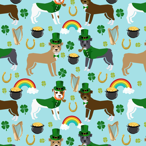 pitbull leprechaun fabric - st pattys day st. patricks day dog design -blue fabric by petfriendly on Spoonflower - custom fabric