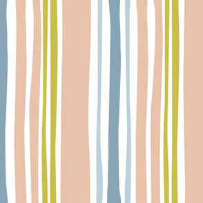 Wavy stripe in blue and peach