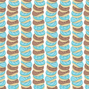 Mexican pan dulce // white background pastel blue conchas