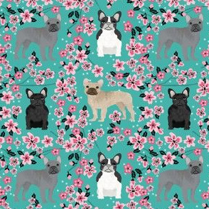 frenchie florals fabric - french bulldogs and cherry blossom fabric - dogs and flowers - turquoise