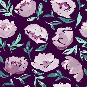 Violet Watercolor Florals