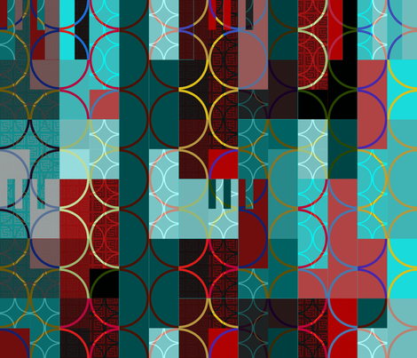 red and turquoise rectangles & circles  fabric by variable on Spoonflower - custom fabric