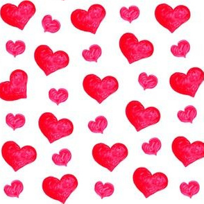 Valentine's Day Water Color Pink Red Hearts Cute Valentines Day