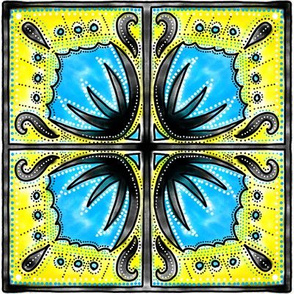 Spanish tiles turquoise and yellow