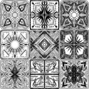 Spanish tiles black and white mosaic