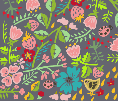 fiori grandi  fabric by potyautas on Spoonflower - custom fabric