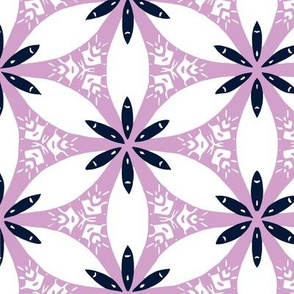 Snow Lily Lattice - Orchid & Navy