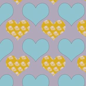 yellow blue hearts