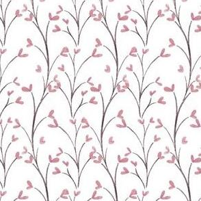 Pink Spring Watercolor Flowers on Light Grey Stripe Vines