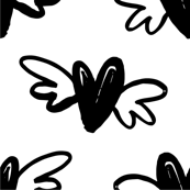 Valentine's Day Hearts Flying Hearts with Wings Cute Valentines Day Black and White