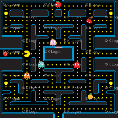 Pacman Retro Video Game Pattern
