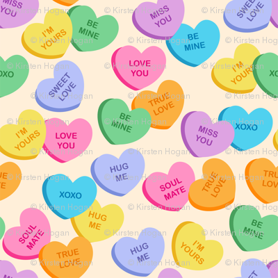 Valentine S Day Candy Hearts Cute Valentines Day Fabric Khaus