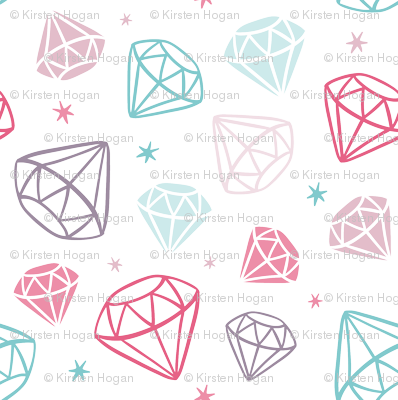 Diamonds 3D Gems Crystals Pink Teal Purple
