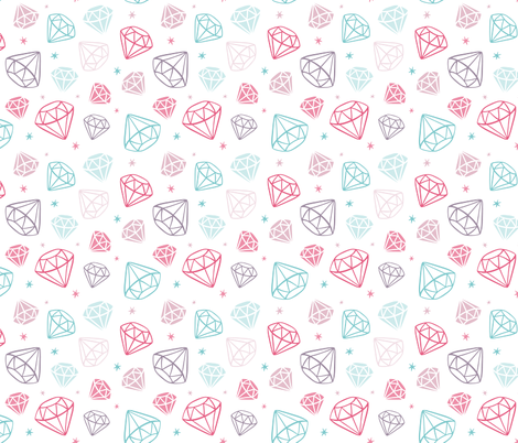 Diamonds 3D Gems Crystals Pink Teal Purple fabric by khaus on Spoonflower - custom fabric