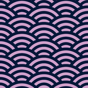 Japanese waves in light orchid and dark navy blue
