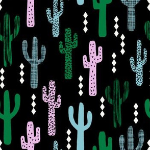 cactus greens pink blue grid tropical southwest design for trendy kids spring summer