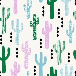 cactus greens pink blue grid tropical southwest design for trendy kids spring summer