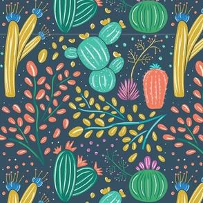 Desolate Desert Cactus & Shrubbery