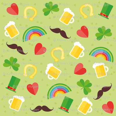 Saint Patricks Day Cute Boots, Coins, Clover, Rainbow, Beer, Mustache, Hearts St. Patricks Day